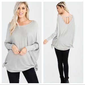 ✨LAST 2 Silver side Tie long sleeve light knit top